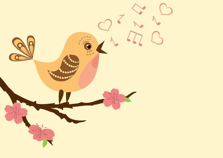 cartoon birds: Singing bird on a blossoming branch. Vector illustration.