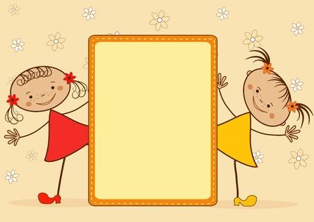 bebe a bordo: Sonriendo las muchachas. De dibujos animados. Ilustraci�n vectorial con el lugar para el texto.