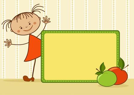 bebe a bordo: Sonriente ni�a. De dibujos animados. Ilustraci�n vectorial con el lugar para el texto. Vectores