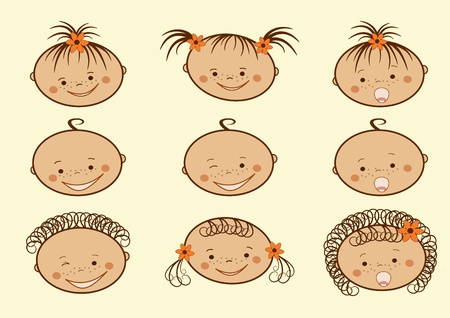 facial painting: Laughing children. Vector illustration.