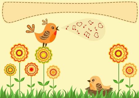 Singing bird. Greeting card. Vector illustration. Vector
