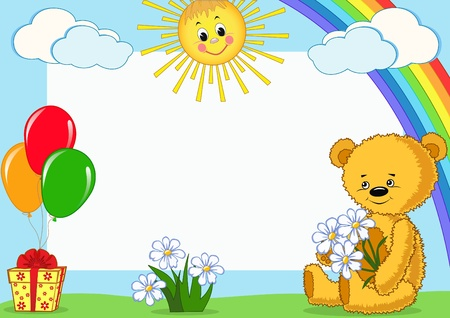 Children photo framework. Bear. Vector illustration. Vector