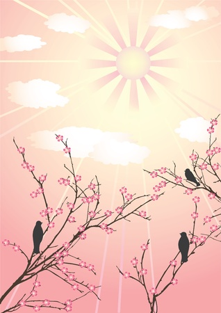 Blossom cherry-tree and birds. Vector  illustration.