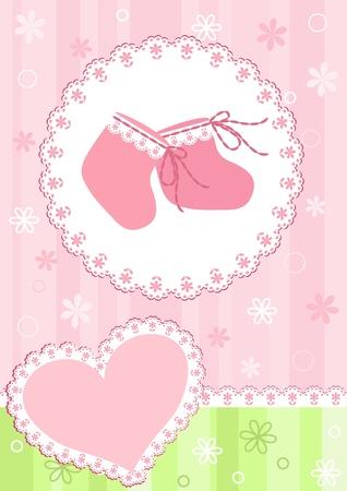 newborn baby girl: Baby arrival card.