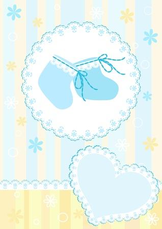 little boy cartoon: Baby arrival card.