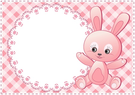 Baby rabbit and white doily. Vector