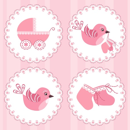 stroller: Baby arrival card. Design elements.