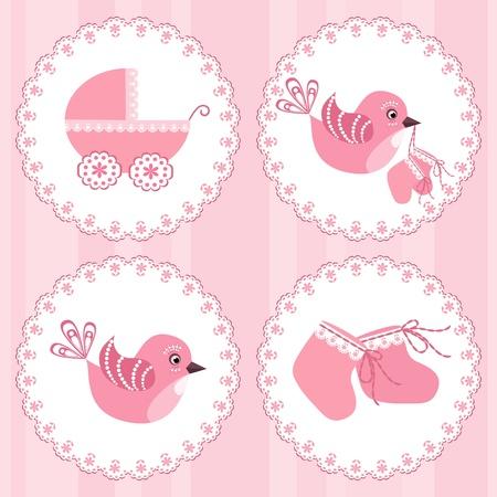 bimbo pannolino: Bambino arrivo card. Elementi di design.