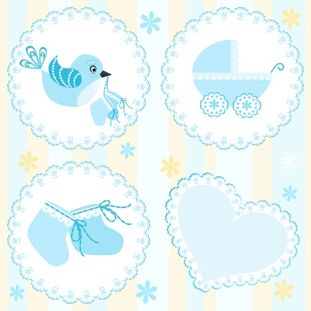 baby boy shower: Baby arrival card. Design elements.