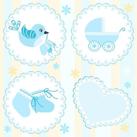 Bebé tarjeta de llegada. Los elementos de diseño.