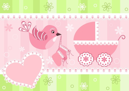 baby crib: Baby arrival card.
