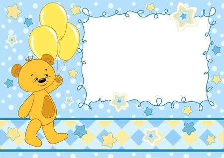 plush: Baby card with teddy bear Illustration