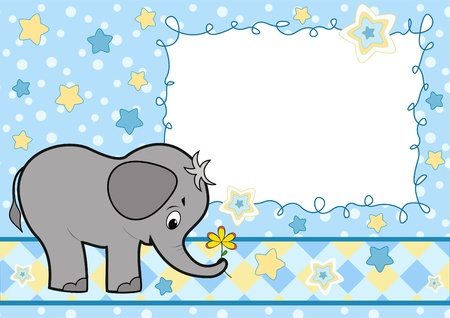 baby border: Baby greeting card with elephant
