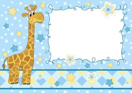 stria: Baby frame with giraffe. Arrival card.