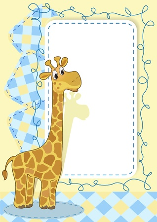 yellow photo: Giraffe. Baby card.