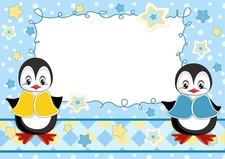 Baby greeting card with penguins Illustration
