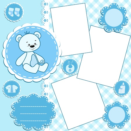 newborn baby girl: Baby album page.Blue. Illustration