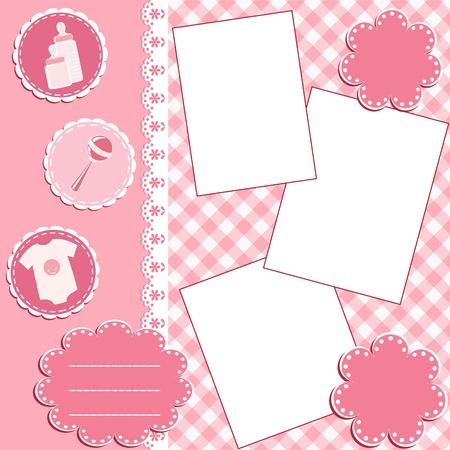 album page: Baby album page. Illustration