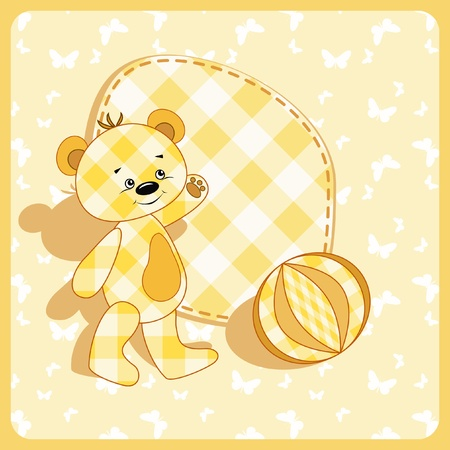 stria: Baby card. Bear and ball.