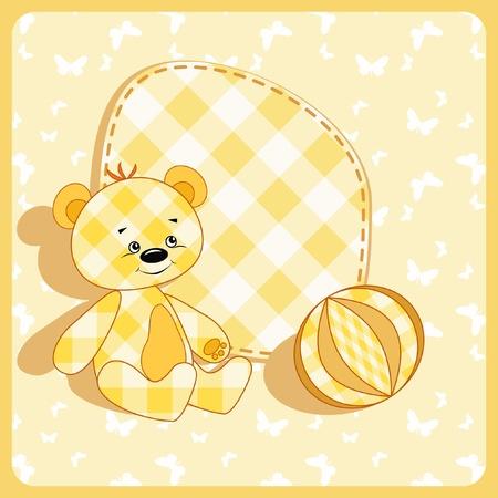 Baby card. Bear and ball.