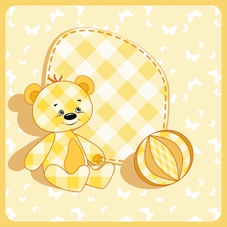 baby sitting: Baby card. Bear and ball.