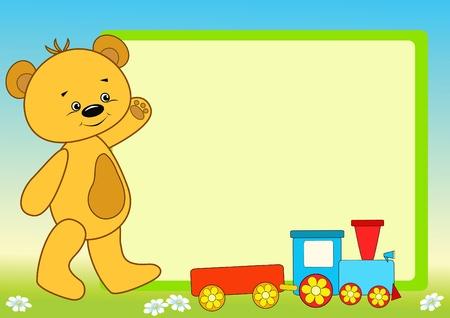birthday train: Bear and message board