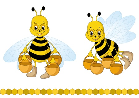 Bee and fresh honey in the comb. Vector