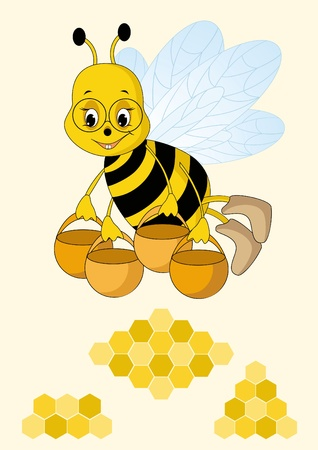 honey comb: Bee and fresh honey in the comb Illustration