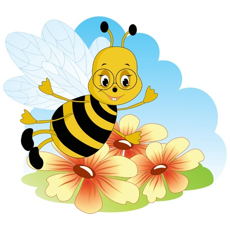 blossom honey: Fanny bee. Baby cartoon Illustration