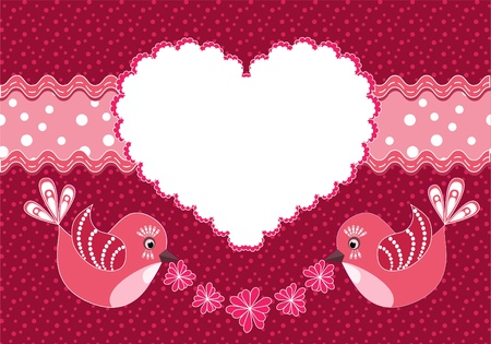 Baby background with birds and heart. Vector