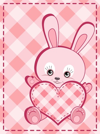 cute rabbit: Congratulation card. Baby rabbit