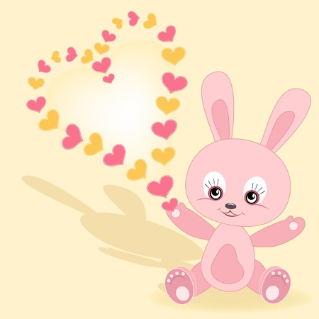 Congratulation card. Baby rabbit. Vector