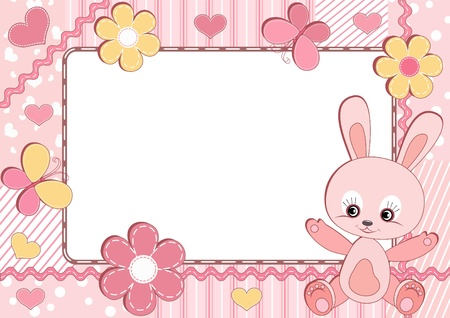 Baby frame. Rabbit.  Vector