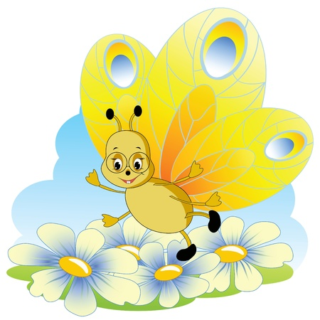 Cartoon butterfly.  Vector