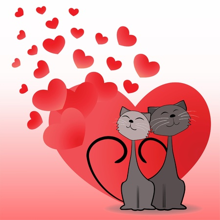 love and friendship: Dreaming cats. Valentine card.