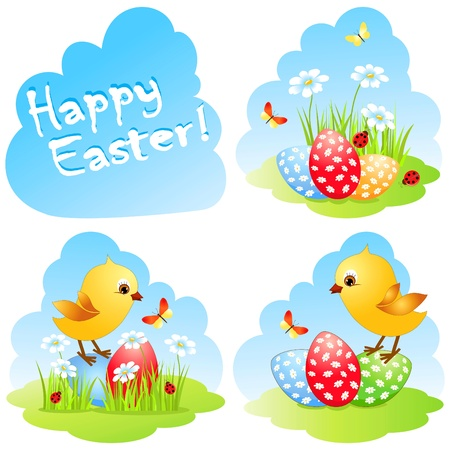 Easter collection with chick and eggs.  Vector