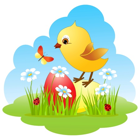El pollo y el huevo. Tarjeta de Pascua.