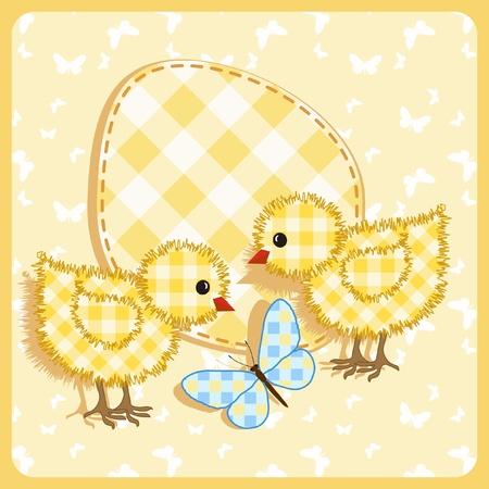 Bebé de la tarjeta. Los pollos con la mariposa.