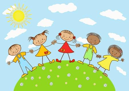 행복 어린이의 그룹입니다. 일러스트