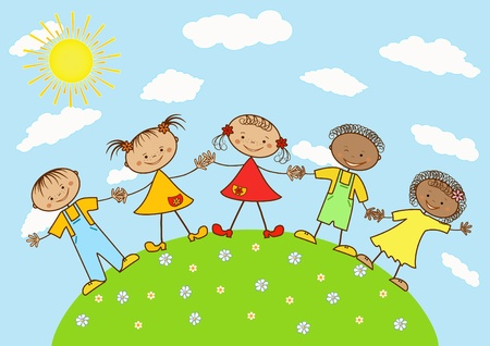 mani terra: Gruppo di bambini felici.
