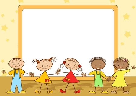 banner of peace: Group of happy children.