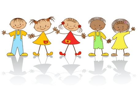 Group of happy children.  Stock Vector - 12485190