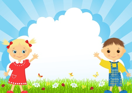 The girl and the boy on a meadow.  Vector