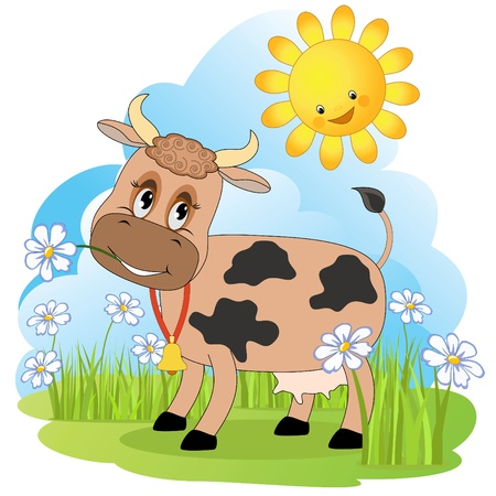 cow bells: Cow on a meadow.  Illustration