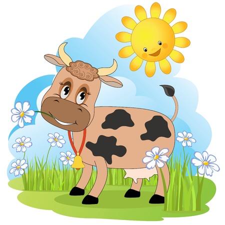 cow bells: Vaca en un prado.