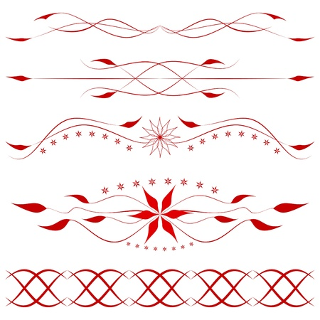 Decorative floral elements on the white Vector
