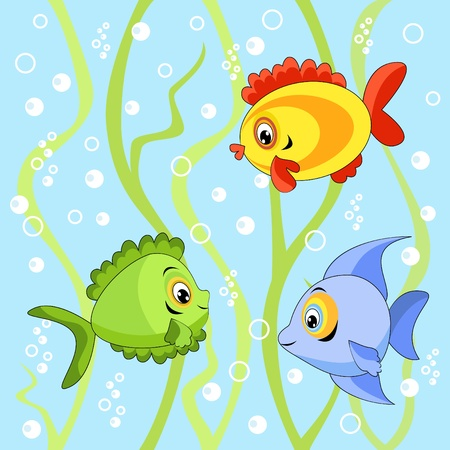 Seamless with fish.  Vector