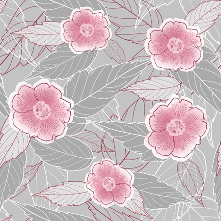 Seamless with leaves and flowers. Vector