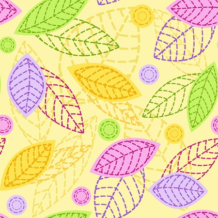 seasonal forest: Seamless with leaves.  Illustration