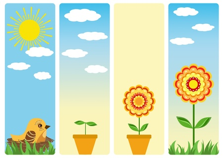 Four banners for gardening. Stock Vector - 12485193
